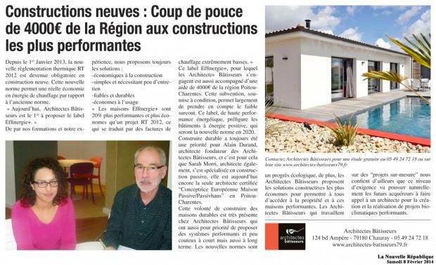 Architectes Bâtisseurs avec Effinergie + dans la Nouvelle République